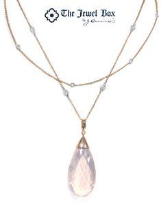 c7f773d2407e Rose gold necklace with quartz and diamonds. Quartz