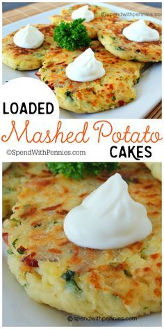 Loaded Mashed Potato Cakes!  These are an amazing way to use up mashed potatoes...  and you can add so many delicious things to these, the possibilities are endless!