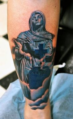 Realism Religious Tattoo by Daniel Rocha& Tombstone Tattoo, Religious Tattoos, Memorial Stones, New Years Eve Party, I Tattoo, Tattoos For Guys, Balloons, Memories, Twitter