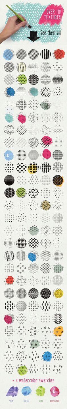 Pattern Design Inspiration - HandSketched Seamless Pattern Pack by Vítek Prchal on Creative Market (affiliat. Textures Patterns, Print Patterns, Grafik Design, Surface Pattern Design, Game Design, Geometric Shapes, Stencil, Illustration, Doodles