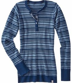 Title Nine: Woolicious Henley - Striped - Washable wool/poly/nylon/spandex. Henley styling. Only @ T9.