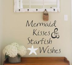 Vinyl Wall Decal- Mermaid Kisses & Starfish Wishes- Vinyl Lettering Decor Beach Themed Words for your wall Quotes for the wall by landbgraphics on Etsy Ocean Themed Rooms, Ocean Room, Beach Theme Bathroom, Beach Bathrooms, Bathroom Ideas, Mermaid Bathroom, Bathroom Designs, Beach Shower, Mermaid Room