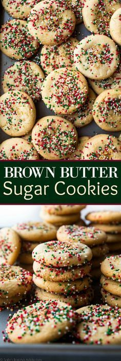 Add DELICIOUS flavor to sugar cookies with brown butter! Takes just minutes and these will be the best sugar cookies you try for Christmas! Quick easy cookie recipe on sallysbakingaddic. Easy Cookie Recipes, Sweet Recipes, Baking Recipes, Dessert Recipes, Baking Ideas, Drop Sugar Cookies, Yummy Cookies, Sugar Cookies With Sprinkles, Quick Cookies