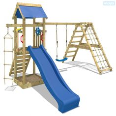 Wooden climbing frame Wickey Smart Park with slide and swing. Cheapest prices and rapid delivery, the UK's leading climbing frame specialist! Wooden Climbing Frame, Climbing Frames, Teak, Kids Play Area, Backyard Playground, Garage Organization, Organization Ideas, Outdoor Spaces, Backyards