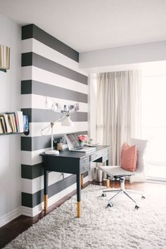 Love this for home office inspiration! The black and white stripe accent wall is so cute and perfect for a home office! Decor, Bold Decor, House Styles, Sweet Home, Interior, Home Office, House, Home Decor, House Interior