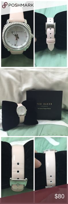 "Ted Baker London Mini Jewels Leather Strap Watch Gently used. Ted Baker London ""Mini Jewels"" watch with patent leather strap in a pretty light baby pink color. Flawless mother of pearl face with silver accents. Has some creasing in the leather strap where the holes are placed (please see 3rd pic). Otherwise, in great condition. 💕 Ted Baker Accessories Watches"