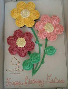 24 cupcakes floral display by Create n bake No Bake Cookies, Crochet Necklace, Cupcakes, Display, Baking, Create, Tableware, Floral, Desserts