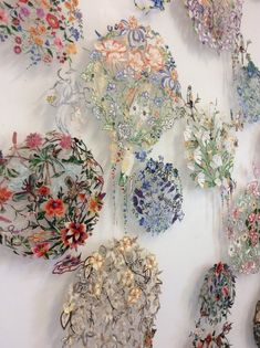 A wall of garden — louise saxton Wall Garden detail Textile Fiber Art, Textile Artists, Embroidery Art, Machine Embroidery, Japanese Embroidery, Flower Embroidery, Embroidery Stitches, Water Soluble Fabric, Lace Art