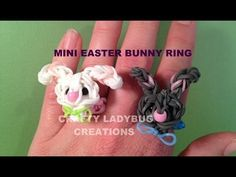Rainbow Loom Mini EASTER BUNNY RING. Designed and loomed by Crafty Ladybug. Click photo for YouTube tutorial. 04/08/14