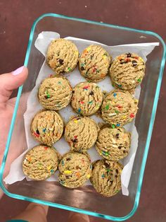 six vegan sisters: Funfetti Cake Batter Cookie Dough Protein Bites Healthy Protein Snacks, Protein Desserts, Protein Bites, Protein Foods, Healthy Sweets, Energy Bites, High Protein, Vegan Sweets, Vegan Food