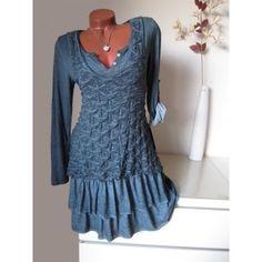 Strick Tunika Kleid Muster meliert Volant Shirt 30% Seide Batik gr bl