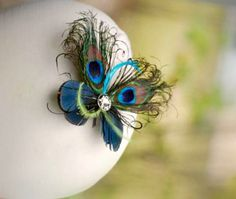 MINI Peacock Feather Butterfly Fascinator COMB / by sofisticata, $42.00