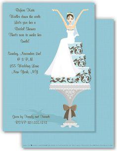 Tinkled Pink Design- Blue Bride on Cake Invitation
