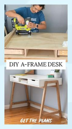 Diy Home Decor Bedroom, Diy Home Decor On A Budget, Decor Diy, Diy Desk, Desk Plans Diy, Diy Crafts Desk, Diy Wood Desk, Diy Computer Desk, 2x4 Wood