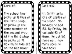 Solving 2 step word problems is tough!  Not with these task cards!  Great for the whole class, small groups, or in centers!  Grades 2-3