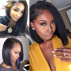72.98$  Watch now - http://ali2r1.worldwells.pw/go.php?t=32670112869 - Silky Straight Human Hair Wigs Virgin Brazilian Hair Full Lace Wig & Lace Front Wig For Black Women Full Lace Human Hair Wigs 72.98$