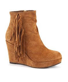 Tan (Stone ) Brown Leather Tassel Wedge Ankle Boot | 256945718 | New Look