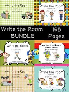 6 Write the Rooms BUNDLED - 168 Pages - Insects/Bugs; Community Helpers; Sports; April/Easter; Wild Animals; Beach Day