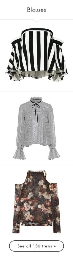 """""""Blouses"""" by bestgirlever ❤ liked on Polyvore featuring tops, blouses, shirts, striped shirts, off shoulder tops, off shoulder blouse, stripe shirt, striped blouse, silk neck ties and silk tie neck blouse"""