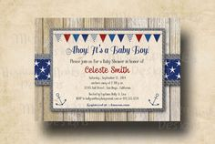Nautical Baby Shower Invitation, Printable Invite, Rustic Burlap, Red Blue Grey - Celeste on Etsy, $14.21 AUD