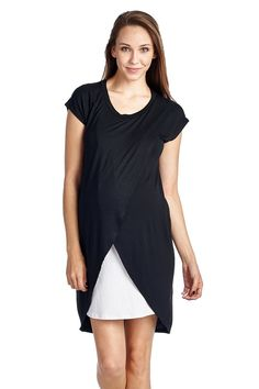 082031e27cc65 Hello Miz Color Block Asymmetrical Maternity Breastfeeing Nursing Dress.  Amazon. $27.