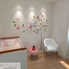 Adesivo de parede para decoração de quarto de bebê e infantil |Flores, corujinhas, folhas, corujas, galhos | SP,BH, MG, RJ, DF