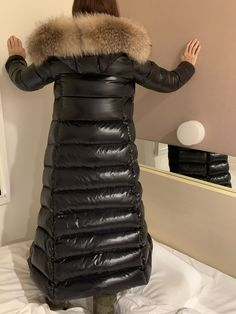 Miegofce Frauen Mode Long Black Large Echtpelz Kapuze Parkas