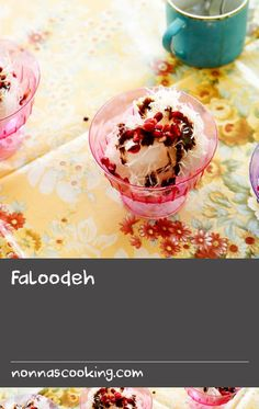 Faloodeh | Featuring orange-blossom water, rice vermicelli and pomegranate seeds, the contrasting textures and flavours make faloodeh a unique frozen treat. This refreshing, dairy-free dessert is synonymous with the Iranian city of Shiraz, where it may be coloured yellow with saffron.