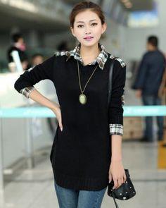 TC000583 Korean style bottoming autumn sweater loose plaid shirt