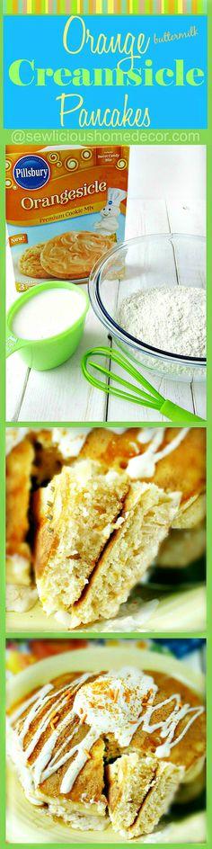Orange Buttermilk Creamsicle Pancakes. Homemade buttermilk pancakes with orange creamsicle cookie mix in the batter! sewlicioushomedecor.com