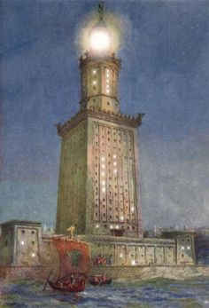 Lighthouse of Alexandria, 280 BCE, the largest and most famous lighthouse of the ancient world built for a Greek king ruling Egypt, the first true highrise building in the history of architecture