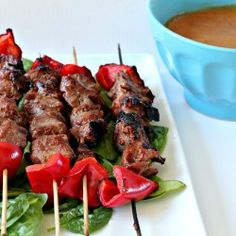 Ginger Soy Lamb Kebabs with Speedy Peanut Sauce