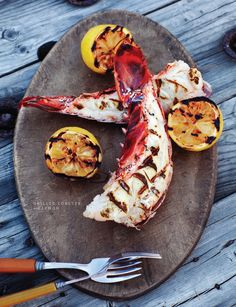 Grilled lobster with lemon