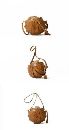 Leather Bag Original Round Shape by KiliDesign on Etsy