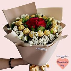 Surprise your sweetheart with our new Sweet Admiration Bouquet this Valentine's Day Ferrero Rocher Bouquet, Online Flower Shop, Birthday Candy, Chocolate Brands, Same Day Flower Delivery, Chocolate Bouquet, Candy Bouquet, Funeral Flowers, Fresh Flowers
