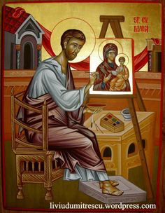 St Luke painting an Icon of the Mother of God Religious Images, Religious Icons, Religious Art, Byzantine Icons, Byzantine Art, Luke The Evangelist, Fresco, Greek Icons, Roman Church