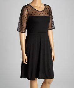 Look at this #zulilyfind! Black Mesh Polka Dot A-Line Dress - Plus by Reborn Collection #zulilyfinds