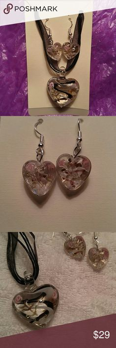 Heart Shape Murano Glass Pendant and Earrings Gorgeous Murano Glass Heart Pendant and matching dangly pierced earrings. Necklace is black ribbon and a black cord. Pink, black and white design inside the glass. Statement set!! Beautiful!! Jewelry Earrings