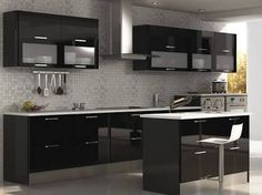 New bathroom contemporary black cabinets Ideas Kitchen Modular, Modern Kitchen Cabinets, Smart Kitchen, Kitchen Sets, Home Interior, Kitchen Interior, Interior Design Living Room, Kitchen Decor, Kitchen Cupboard Designs