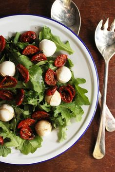 food on paper: Roasted Cherry Tomato Salad.  Substitute sun-dried tomatoes.