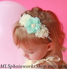 Aqua & Ivory Baby Girl Headband  Shabby Chic by MLSPhotoWorksShop, $7.25