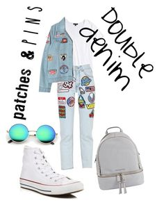 """""""Double denim patches n' pins"""" by fashion-iconsorta ❤ liked on Polyvore featuring Topshop, GCDS, Chicnova Fashion, Converse, MICHAEL Michael Kors and patchesandpins"""