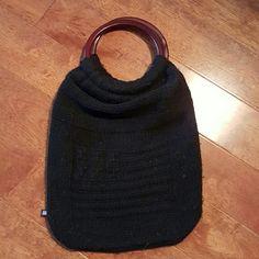 Ralph Lauren black sweater bag Ralph Lauren Black Sweater bag w/Dark wood handles, small zip compartment inside 11' long, 9' wide Ralph Lauren Accessories