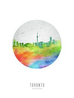 Digital abstract drawing of Toronto, Ontario Watercolor Cityscape with location & coordinates. Art Toronto, Toronto Skyline, Canvas Prints, Framed Prints, Art Prints, Abstract Drawings, Beauty Art, Wood Print, Digital Art