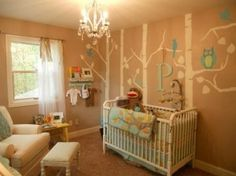 Future kiddo room. If baby is a girl, paint owl bellies pink, pink letter, little pink details :)