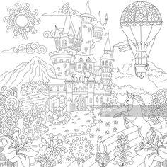 Cute Coloring Pages, Animal Coloring Pages, Adult Coloring Pages, Coloring Sheets, Coloring Books, Fantasy Castle, Fairytale Castle, Zen Colors, Fantasy Dragon