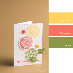 Daffodil Delight, Calypso Coral, Old Olive #stampinupcolorcombos