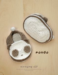 Panda Baby Booties Crochet Pattern by Kittying.com