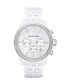 Michael Kors Mid-Size White Acetate and Silver Color Stainless Steel Pilot Chronograph Glitz Watch.
