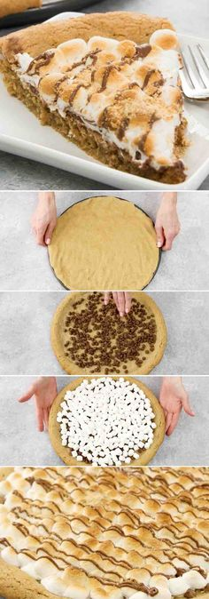 Soft & Gooey Loaded S'mores Pizza or S'mores Pie - flavored with crushed graham crackers cookie dough, and layered with marshmallow and sweet chocolate chips. Who needs a campfire? Bake this indoor rich, gooey S'mores cake instead! Loads of s'mores in every bite! So good! Quick and easy recipe.   Tipbuzz.com